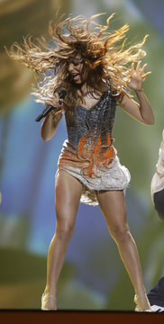"""Eleftheria Eleftheriou of Greece performs her song """"Aphrodisiac"""" during the first semi-final of the Eurovision song contest in Baku"""