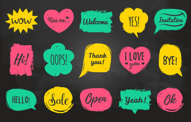 Vector hand drawn set of speech bubbles with phrases Hi, Hello, I love you, Yes, Wow, Welcome, Open, Kiss Me etc.
