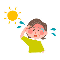 vector illustration of an elder woman with heatstroke