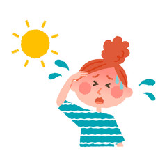 vector illustration of a woman with heatstroke