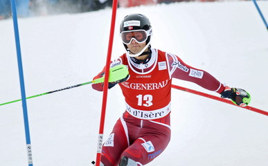 Norway's Foss-Solevaag skis during the first lap of the men's slalom race for the Alpine Skiing World Cup in Val d'Isere
