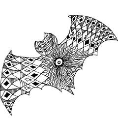 Zentangle totem bat adult-stress coloring page.