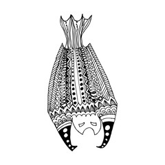 Zentangle totem bat adult-stress coloring page.