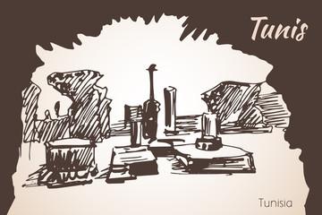 Tunisia old architecture sketch.