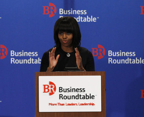 U.S. first lady Michelle Obama delivers remarks to the quarterly meeting of member CEOs of the Business Roundtable in Washington