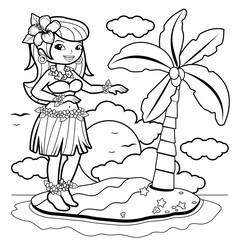 Hawaiian woman hula dancer on an island. Coloring book page