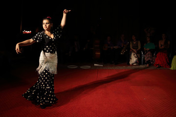 """Roujenka Romanes performs at the Gypsy """"Romanes"""" circus during a rehearsal under the circus tent in Paris"""