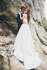 Happy wedding couple kissing and hugging near a high cliff