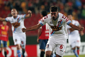 Diego Luis Braghieri of Argentina's Arsenal celebrates after scoring a goal during their Copa Libertadores soccer match against Chile's Union Espanola in Santiago