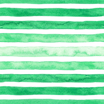 Hand drawn watercolor green texture strokes seamless pattern on the white background