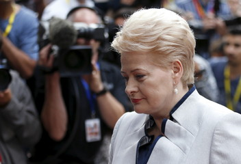 Lithuania's President Grybauskaite arrives at an emergency euro zone summit in Brussels