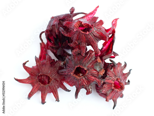 Dried Candied Hibiscus Flower On A White Background Stock Photo And