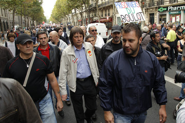Bernard Thibault, French CGT labour union leader, attends a demonstration with private and public sector workers  over pension reforms in Paris
