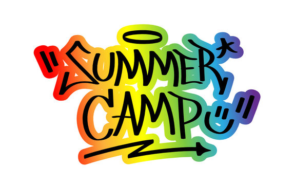 """""""SUMMER CAMP"""" Graffiti Tag with Rainbow Outline"""