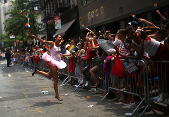 People take part in the Gay Pride Parade in New York