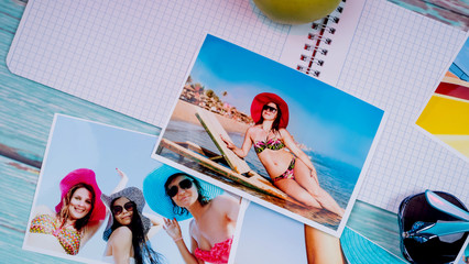 Photos of girls in bathing suits. Sea and rest. Memories