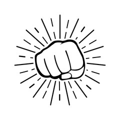 Fist with sun rays on white background.Vector