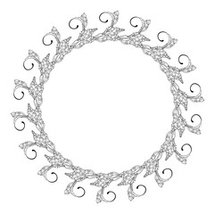 Black and white oval frame with floral silhouettes. Copy space. Vector clip art.
