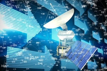 Composite image of vector image of3d solar powered satellite