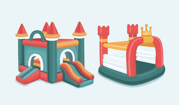 Big Vector illustration set of inflatable castles. Pictures isolate on white background