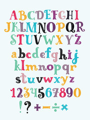 Vector cute alphabet colorful sticker alphabet with number and plus, minus, division, multiplication, quotation marks, equals