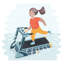 Vector cartoon funny illustratuion of plump young woman running on treadmill