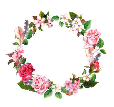 Floral wreath with apple, cherry flowers, sakura blossom, roses flowers and feathers. Watercolor round border