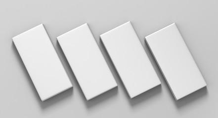 Chocolate White Paper Box Packaging Stick Sachet Mock up for print design. 3D illustration.