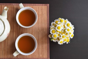 Tea for two with flowers