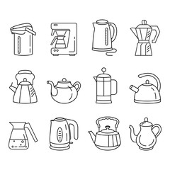Outline collection of icons of kitchen kettles.