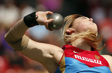 Kolodko of Russia competes in the women's shot put final final during the European Athletics Championships at the Letzigrund Stadium in Zurich