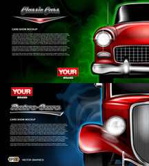 Digital vector red old retro car close up mockup, ready for print or magazine design. Your brand, auto show and exhibition, lights on. Black background, blue and green fog. Transparent, realistic 3d