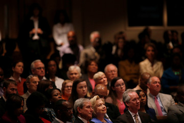 U.S. Democratic presidential candidate Hillary Clinton attends services at St. Stephen Church in Louisville, Kentucky