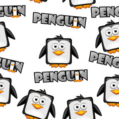 Seamless pattern Cute cartoon square penguin on white background.Set vector animals and bird
