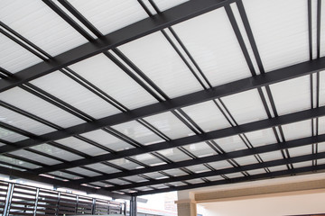 Metal sheet roof of warehouse