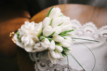 beautiful modern wedding bouquet on wood table