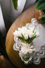 beautiful modern wedding bouquet on wood table