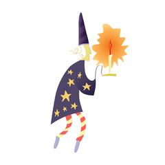 A stargazer or a wizard with a candlestick in a hood and a robe with stars. Artistic illustration for children's books, fairy tales. Kind fairy magical character