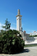 Monument to the Cadiz constitution in the Plaza Espana, Cadiz, Spain.