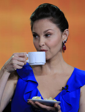 """Actress Judd of the television series """"Missing"""" sips tea as she takes part in a panel session at the ABC Winter TCA Press Tour in Pasadena"""