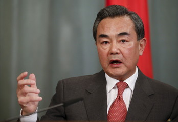 Chinese Foreign Minister Wang speaks during news conference after meeting with Russian Foreign Minister Lavrov in Moscow