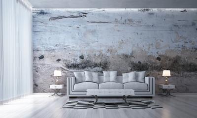 The interior 3d rendering design of loft living room