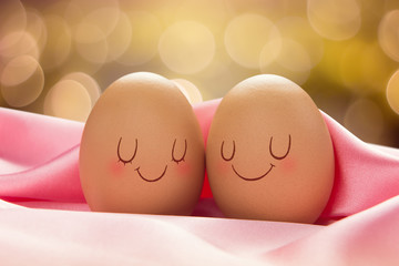 Two Eggs with love for each other, Valentine Day Or Wedding Day Concept