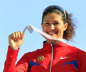 Lysenko from Russia poses with her silver medal during the women's hammer medal ceremony of the European Athletics Championships in Barcelona