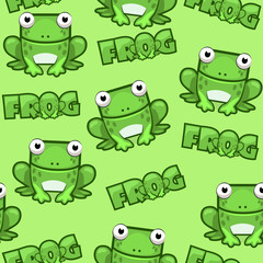 Seamless pattern Cute cartoon square frog on green background. Set vector animals