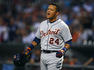 Tigers third baseman Cabrera yells at the home plate umpire after being ejected in the first inning during his MLB American League baseball game against the White Sox in Chicago