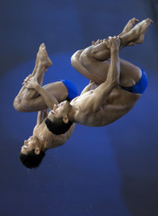 Ocampo and Rovalcaba of Mexico compete during the men's synchronized 10m platform final at the Canada Cup 2012 diving competition in Montreal.