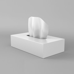 White blank tissue box on grey background for print design and mock up. 3d render illustration template.