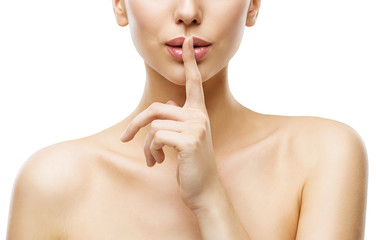 Woman Finger on Mouth, Quiet Lips Silence Sign, Face Beauty and Skin Care Secret