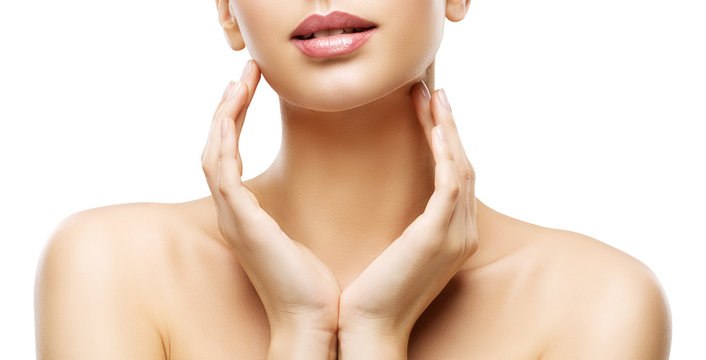 Skin Care Beauty, Woman Lips and Hands Skincare, Healthy Body, White Background